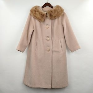 Vintage Real Fur Collar Blush Pink Nude Coat